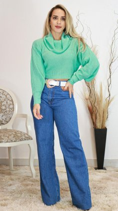 Imagem - Calça Wide Leg Jeans Bolso Vasado - Jeans