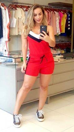 Imagem - Conjunto Blusa e Short Crepe - Vermelho