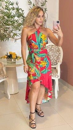 Imagem - Conjunto Blusa Top e Saia Pareô - Vermelho
