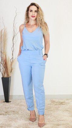 Imagem - Conjunto Regata e Calça Linho - Azul Claro