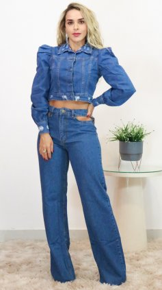Imagem - Jaqueta Jeans Feminina Manga Bufante  - Jeans