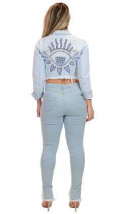 Imagem - Jaqueta Jeans Feminina olho Bordada Degrant - Jeans