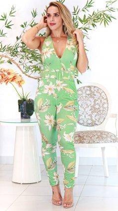 Imagem - Macacão Feminino Justo Longo Com Cinto Cós Alto  - Estampa Verde