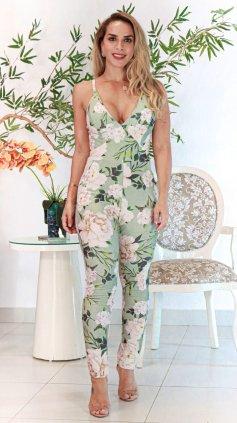 Imagem - Macacão Feminino Justo Longo De Alcinha Cós Alto Decote - Verde Claro