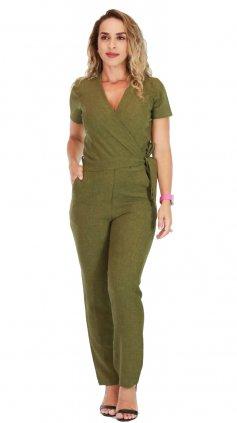 Imagem - Macacão Longo Feminino Decote Transpassado Envelope - Verde
