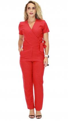 Imagem - Macacão Longo Feminino Decote Transpassado Envelope - Vermelho