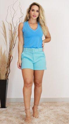 Imagem - Blusa Gola V Rendada - Azul Claro