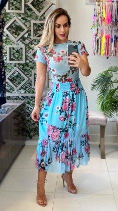 Imagem - Saia Estampada Floral Sublimada - Azul