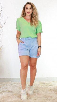 Imagem - Short Alfaiataria Com Cinto Liso - Azul Claro