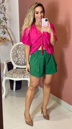 Imagem - Short Godê Microcanelado  - Verde