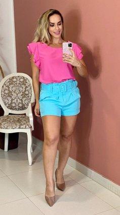 Imagem - Short Exclusiva Com Cinto Cos Alto - Azul Claro