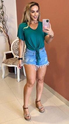 Imagem - Short Destoyed Barra Desfiada - Jeans Claro