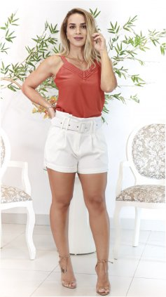Imagem - Short Exclusiva Com Cinto Cós Alto - Off White