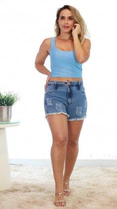 Imagem - Short Jeans Claro Barra Desfiada - Jeans Escuro