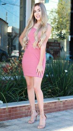 Imagem - Vestido Canelado Curto Com Bojo - Rosa