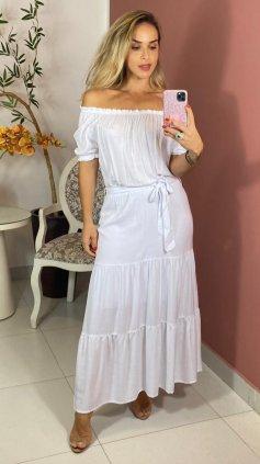 Imagem - Vestido Ombro a Ombro Longo - Branco