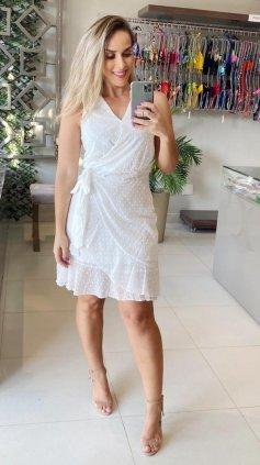 Imagem - Vestido Transpasssado Tecido Trabalhado - Off White