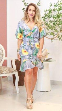 Imagem - Vestido Curto Floral Transpassado - Cinza Claro