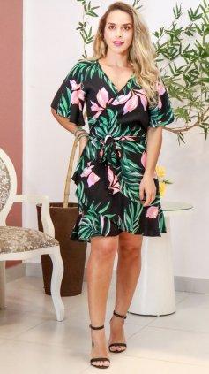 Imagem - Vestido Curto Floral Transpassado - Preto