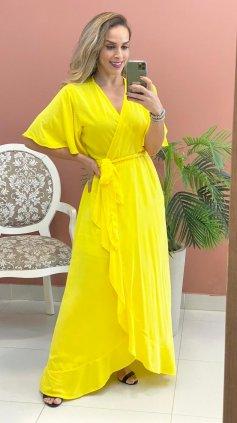 Imagem - Vestido longo Liso Transpassado - Amarelo