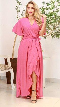 Imagem - Vestido longo Liso Transpassado - Rosa