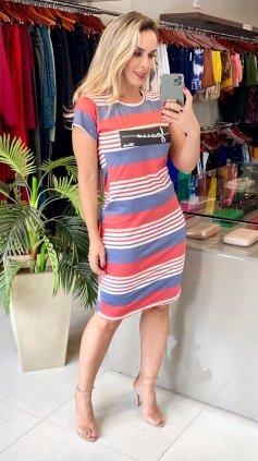 Imagem - Vestido Collection Leila - Listrado Vermelho