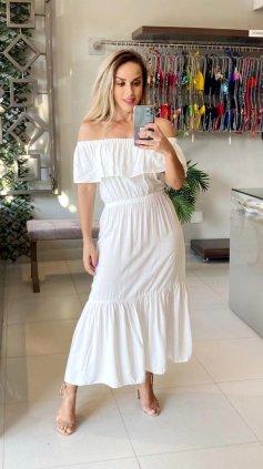Imagem - Vestido Ombro a Ombro Comprimento Chanel  - Off White