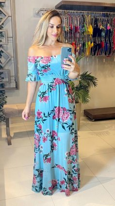 Imagem - Vestido Tule Longo Ombro a Ombro - Azul