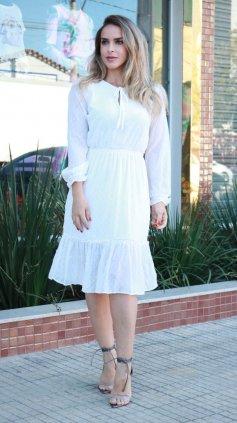 Imagem - Vestido Crepe Trabalhado Princesa - Off White