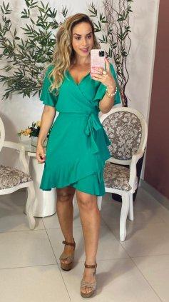 Imagem - Vestido Curto Transpassado - Verde