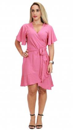 Imagem - Vestido Curto Transpassado - Rosa