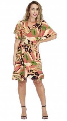 Imagem - Vestido Curto Transpassado - Preto Floral