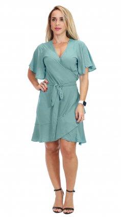 Imagem - Vestido Curto Transpassado - Azul Acero