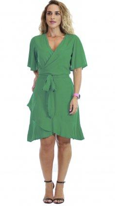 Imagem - Vestido Curto Transpassado - Verde Liso