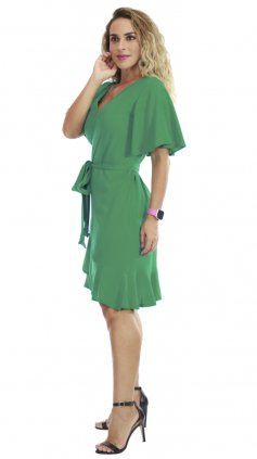 Imagem - Vestido Curto Transpassado - Verde Floral
