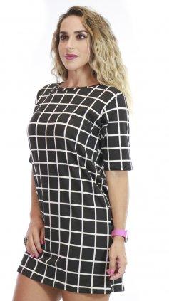 Imagem - Vestido De Malha Com Manguinhas Estampas Variadas - Preto Com Xadrez