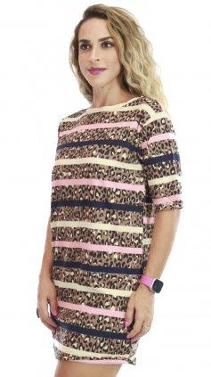 Imagem - Vestido De Malha Com Manguinhas Estampas Variadas - Onça Com Rosa