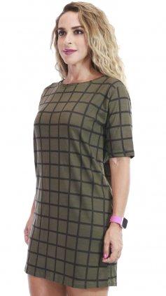 Imagem - Vestido De Malha Com Manguinhas Estampas Variadas - Verde Xadrez