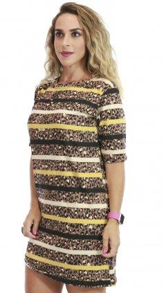Imagem - Vestido De Malha Com Manguinhas Estampas Variadas - Onça Com Amarelo