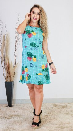 Imagem - Vestido Estampado Babado Na Barra - Azul Floral
