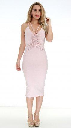 Imagem - Vestido Exbou Decotado Lurex PV19 - Rosa