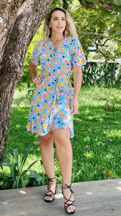 Imagem - Vestido Transpassado Envelope em Malha - Azul