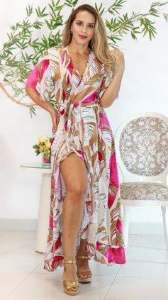 Imagem - Vestido Floral Transpassado - Estampa Bege