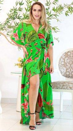 Imagem - Vestido Floral Transpassado Longo - Estampa Verde