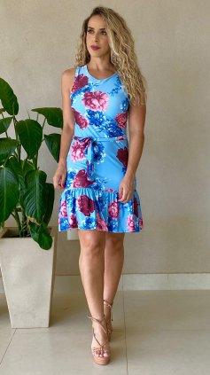 Imagem - Vestido Floral Com Bojo e Cinto - Azul Floral
