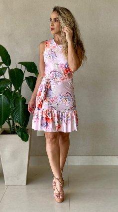 Imagem - Vestido Floral Com Bojo e Cinto - Rosa Floral