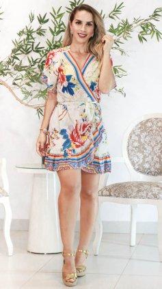 Imagem - Vestido Floral Índia Transpassado - Off White