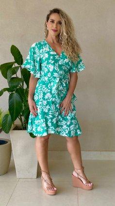 Imagem - Vestido Floral Transpassado Bicolor - Verde Floral