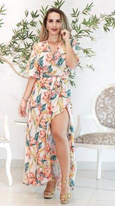 Imagem - Vestido Floral Transpassado Longo - Estampa Laranja