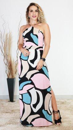 Imagem - Vestido Frente Única Longo - Rosa Estampado